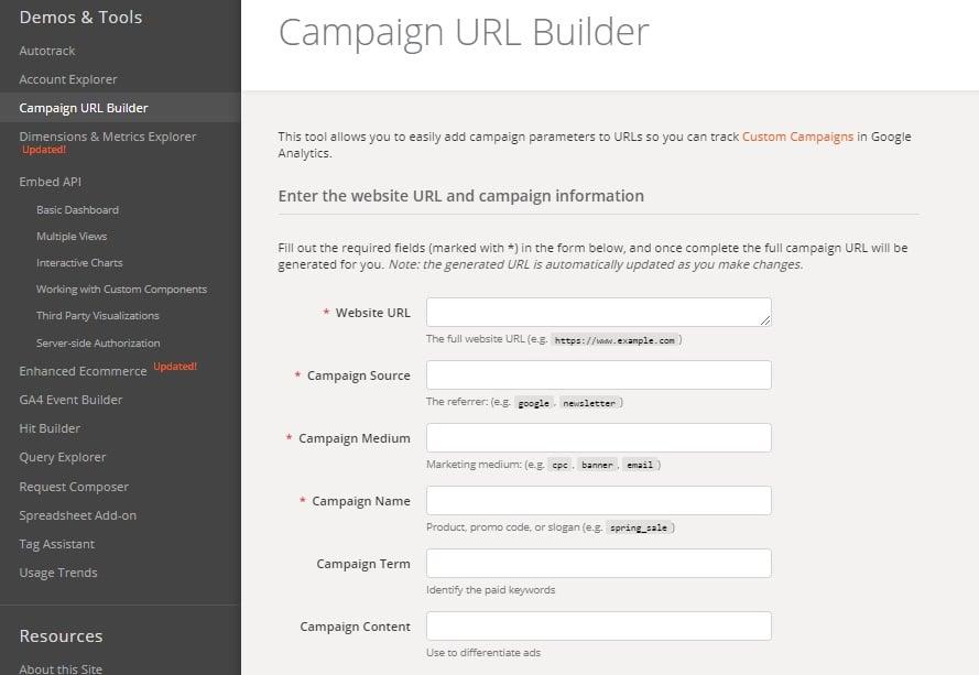 analizzare il traffico web: google Campaigne URL builder