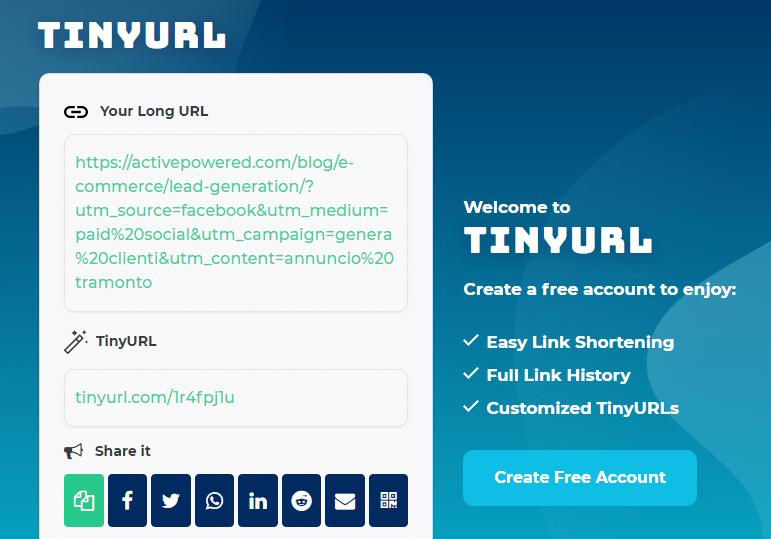 analizzare il traffico web: accorciare URL