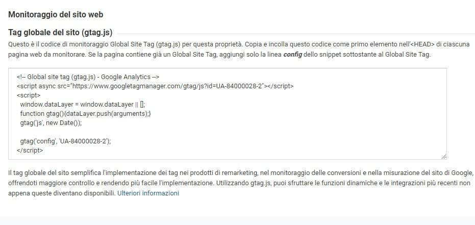 Google analytics - codice di monitoraggio
