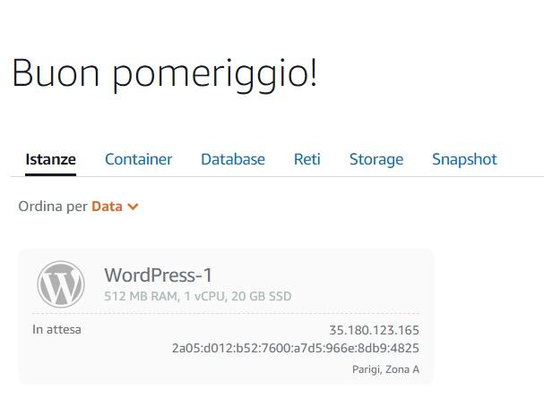 come installare WordPress su Amazon Lightsale